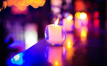 огни, свечи, отражение, блики, хайбол, cвечи, cтекло