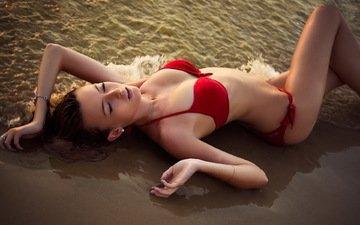 девушка, море, песок, бикини, stefani hantis, модел