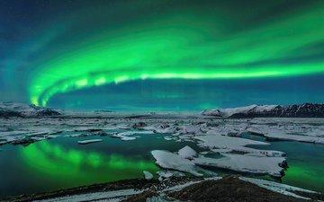 озеро, горы, лёд, северное сияние, исландия, aurora borealis