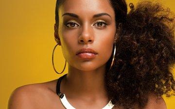 девушка, портрет, взгляд, черные волосы, мулатка, african beauty, темная кожа