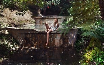 plants, girl, pond, romance, legs, photographer, sitting, carlos williams