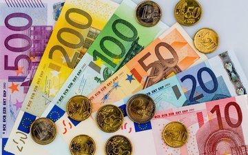 money, coins, bills, euro