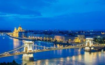 ночь, огни, река, мост, венгрия, будапешт, парламент, дунай