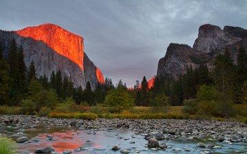 небо, деревья, река, горы, скалы, камни, закат, сша, калифорния, йосемитский национальный парк