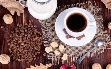 орехи, зерна, кофе, чашка, напитки, молоко, кубок, гайки