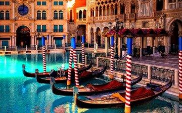 цветы, фонари, вода, озеро, цвета, отражение, лодки, венеция, гондола, лодка, архитектура, статуя, здания, лас-вегас, аллея, гондолы, гостиница, пышность