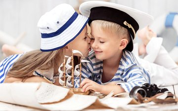 children, girl, boy, friendship, kiss, hat, boat