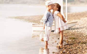 sea, dress, beach, children, girl, boy, friendship, kiss, friends, sailors, sailor