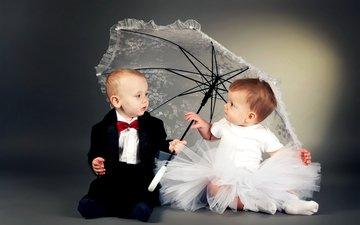 платье, дети, девочка, зонт, пара, мальчик, костюм, зонтик, друзья, детские, в платье