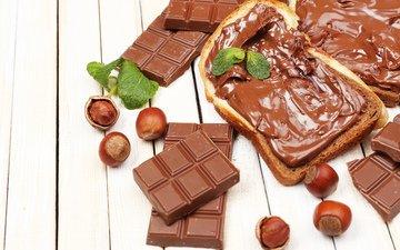 крем для торта, орехи, хлеб, шоколад, в шоколаде, гайки, тост, шоколадная паста