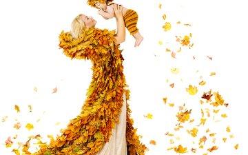 листья, осень, радость, ребенок, женщина, осен, листья, дитя
