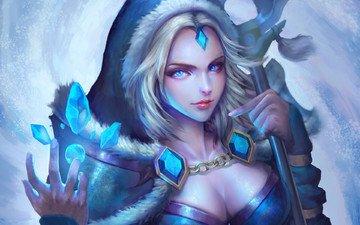 art, girl, crystals, dota 2, crystal maiden, rylai