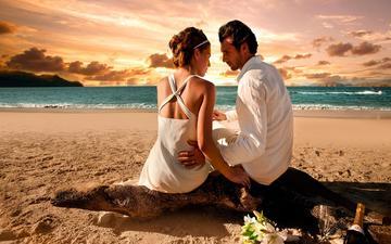 закат, побережье, любовь, букет, пара, мужчина, бокалы, двое, женщина, шампанское, влюбленные
