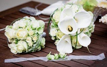 розы, букет, белые, каллы, венчание, роз, букеты
