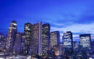 небо, облака, ночь, огни, япония, небоскребы, мегаполис, дома, здания, синее, освещение, японии, токио, столица