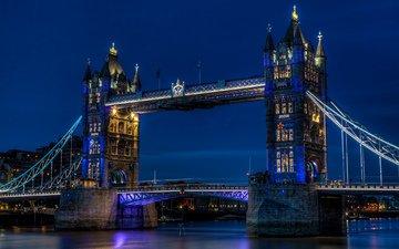 небо, ночь, огни, река, города, великобритания, лондон, темза, город, англия, подсветка, синее, освещение, тауэрский мост, столица, great britain