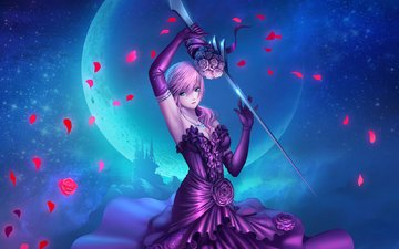 art, night, girl, weapons, dress, the moon, the game, final fantasy xiii, rose petals