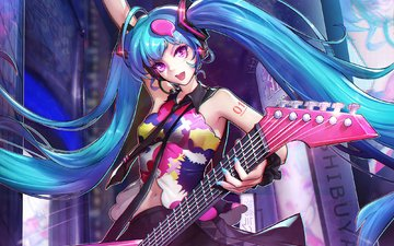 art, girl, guitar, anime, vocaloid, hatsune miku