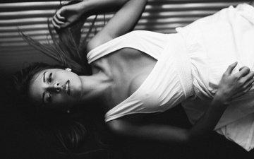 girl, dress, look, chest, photographer, lips, bw, the temptation, neckline, face, carlos williams
