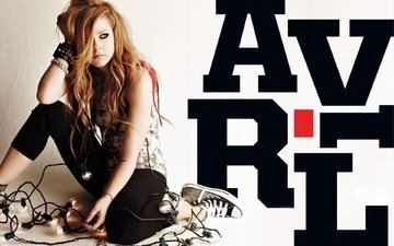 girl, sneakers, singer, light bulb, avril lavigne