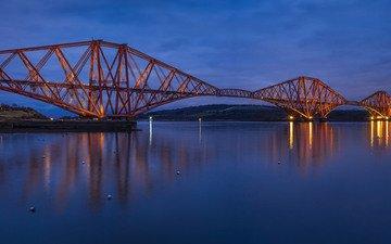 небо, огни, вечер, река, мост, великобритания, синее, шотландия, освещение, great britain, forth bridge, форт-бридж