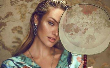 девушка, блондинка, портрет, взгляд, модель, волосы, лицо, кэндис свейнпол