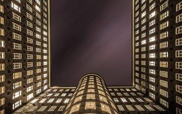 ночь, огни, города, город, архитектура, германия, освещение, гамбург, ноч, office building, kontorhausviertel, sprinkenhof, административное здание