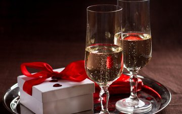 романтика, подарок, коробка, шампанское, бант