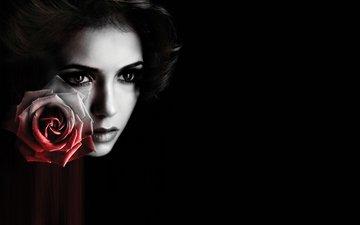 глаза, девушка, цветок, грусть, роза, взгляд, чёрно-белое, красавица, волосы, черный фон, губы, лицо, актриса, чб, дневники вампира, слеза, нина добрев, красивая, страсть, симпатичная