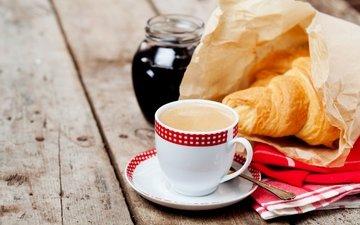 кофе, чашка, завтрак, выпечка, кубок, круасан, круассан, варенье, baking