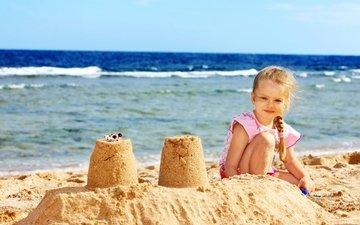берег, море, песок, девочка, берег моря, дитя, little girls