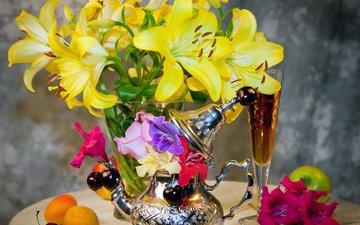 абрикос, вишня, лилии, желтые, натюрморт, вина, абрикосы, вишенка