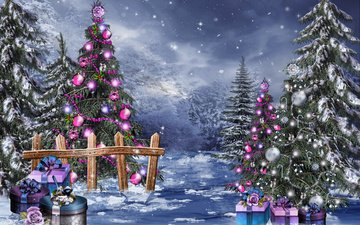 snow, new year, balls, winter, gifts, magic, tree, toys, beads, christmas, box