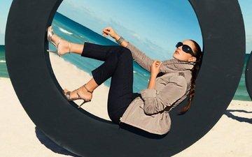 стиль, море, поза, пляж, модель, браслет, солнечные очки, лорен бадд