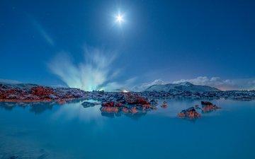 ночь, озеро, горы, природа, исландия, голубая лагуна, гриндавик