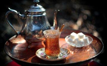 напиток, чай, стакан, чайник, сахар