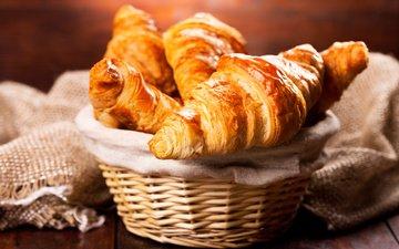 корзина, завтрак, выпечка, круасан, круассан