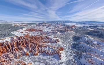 горы, скалы, снег, природа, зима, сша, юта, долина, брайс каньон национальный парк