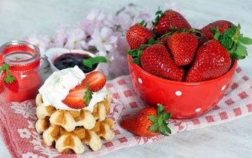 крем для торта, клубника, кофе, джем, завтрак, варенье, вафли, крем