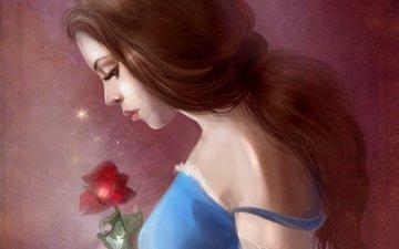 девушка, платье, роза, профиль, волосы, красавица и чудовище, белль