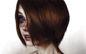 глаза, арт, девушка, портрет, взгляд, стрижка, шея, elena sai