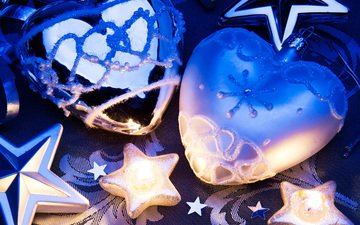 candles, new year, decoration, christmas, heart