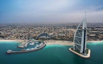море, пляж, панорама, побережье, здания, бухта, дубаи, дубай, оаэ, отели, бурдж аль-араб, persian golf, бурдж-эль-араб, джумейра-бич-отель, персидский залив