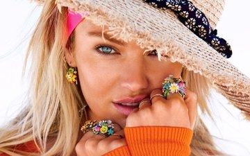 глаза, украшения, девушка, блондинка, модель, лицо, руки, голубые, кольца, шляпа, кэндис свейнпол