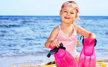 берег, море, песок, очки, радость, девочка, берег моря, ласты, дитя, little girls