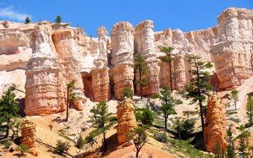 небо, скалы, солнце, каньон, сша, голубое, штат юта, брайс каньон