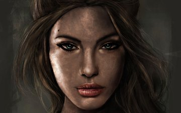art, girl, portrait, look, hair, face, lara croft, tomb raider