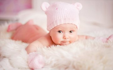 ребенок, младенец, шапочка, детские, глазки, малышка, infant, дитя