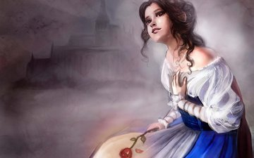 dress, castle, red rose, beauty and the beast, belle