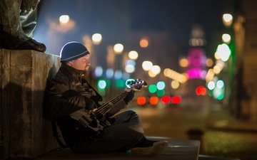 guitar, people, street